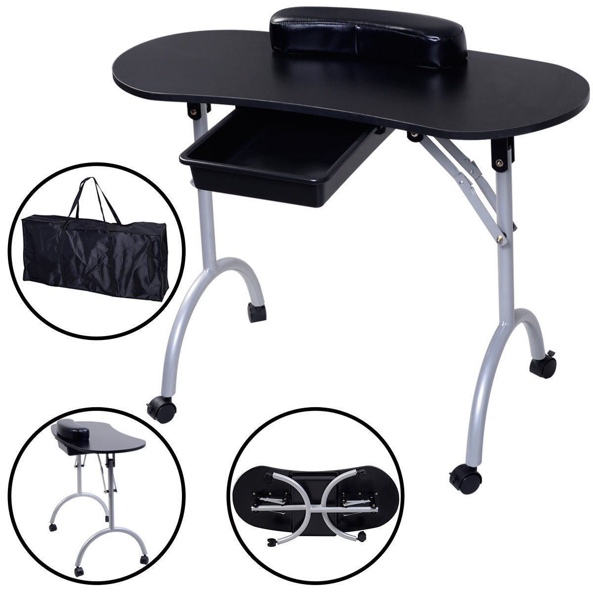 New Portable Manicure Nail Table Station Desk Spa Beauty Salon Equipment Black