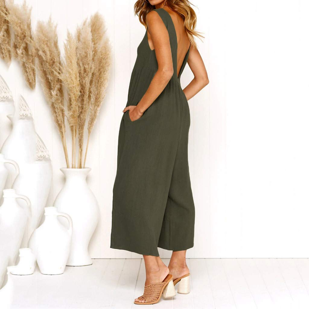 Suma-ma Women Loose Jumpsuit Holiday O-neck Wide Leg Playsuit Ladies Summer Beach Rompers