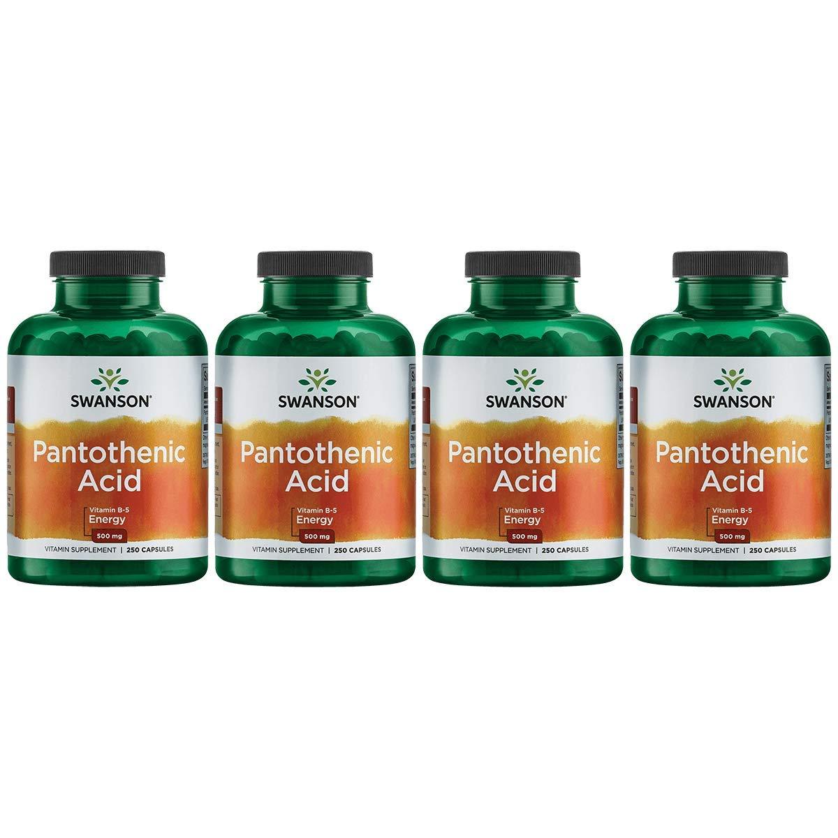 Swanson Pantothenic Acid (Vitamin B-5) Energy Metabolism Nerve Function Support 500 mg 250 Capsules (Caps) (4 Pack)
