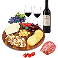 Aidea Wood Cheese Plate Divided Serving Tray with Center Dip for Party 12inch