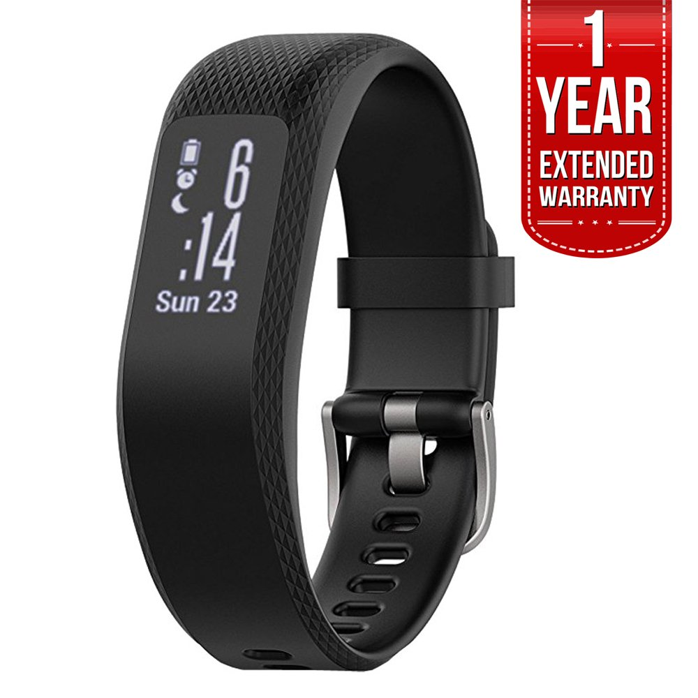 Garmin (010-01755-10) vivosmart 3 Smart Activity Tracker - Small/Medium, Black With 1 Year Extended Warranty 4330292181