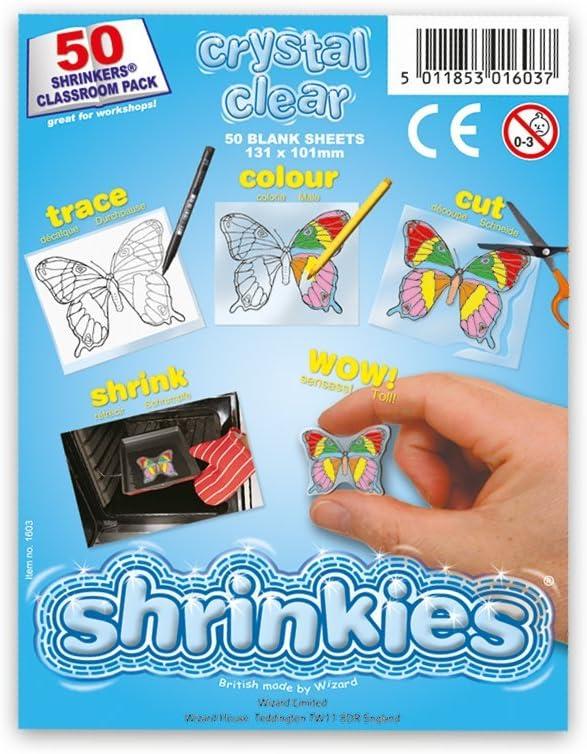 Shrink Art Art-WZ624 Shrinkles Originales,, Paquete Aula, 50 Hojas, Color Transparente (Keycraft WZ624)