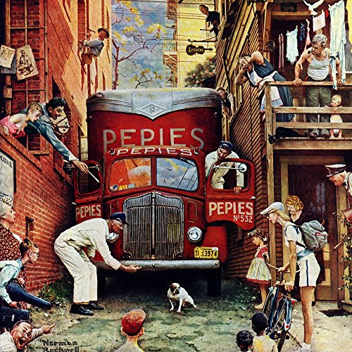 Marmont Hill Norman Rockwell Prints on Canvas ''Road Block'' Art Print, 32 by 32'' by Marmont Hill