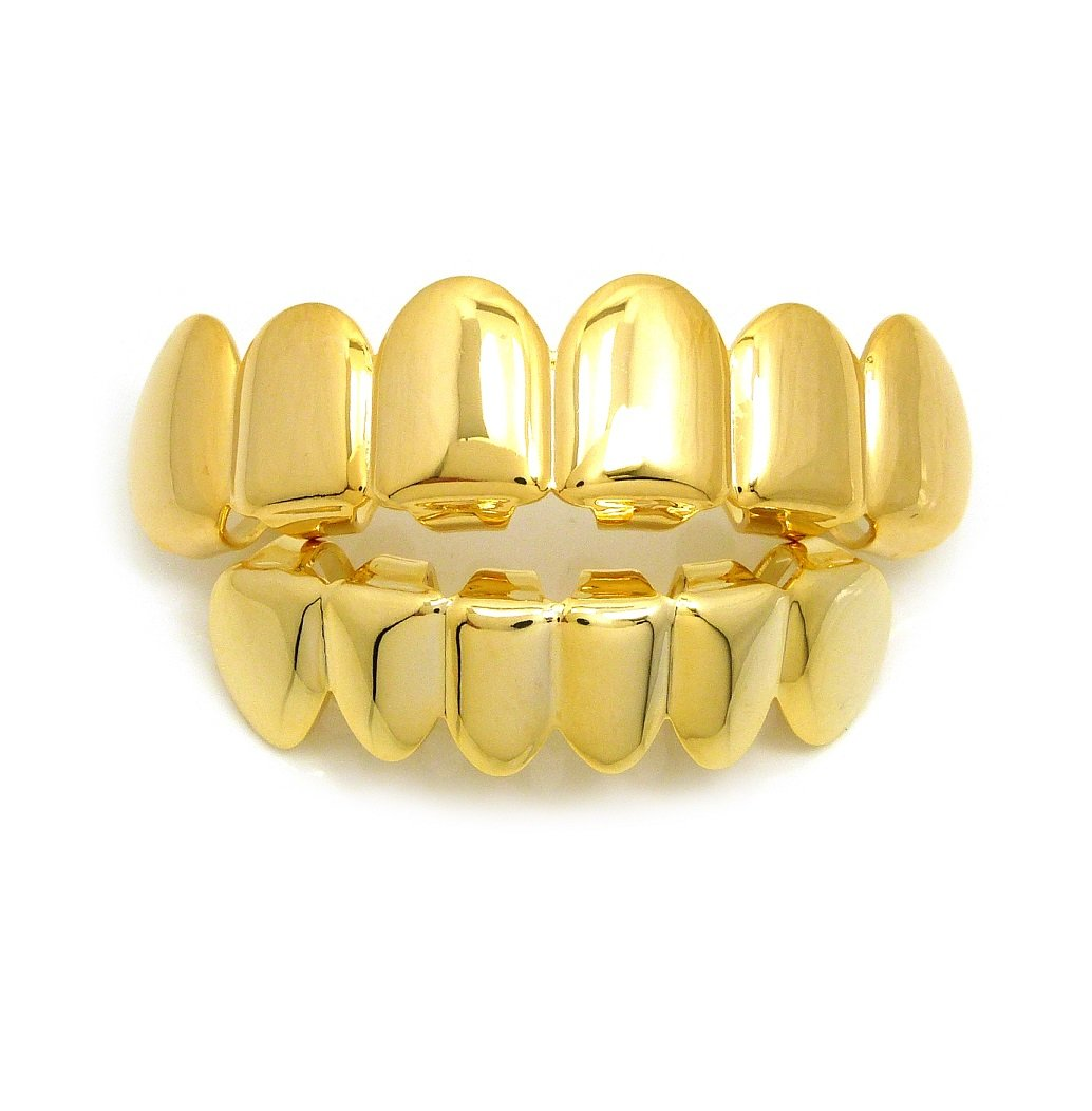 Fashion 21 US FDA Approved Nickel Free Brass 18K Gold Plated Top & Bottom Teeth Grillz Made in Korea (Set - 1)