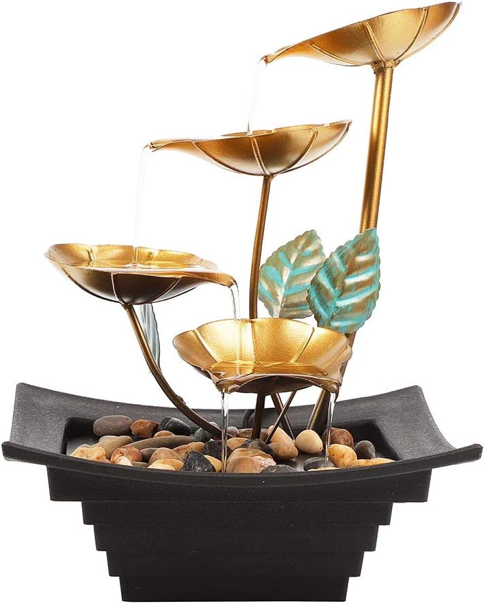 Ferrisland Lily Waterfall Fountain Indoor Tabletop Fountain Water Over Metal Flowers and Leaves, Electric Pump, Soothing Calming and Relaxing Water Sound for Home Décor
