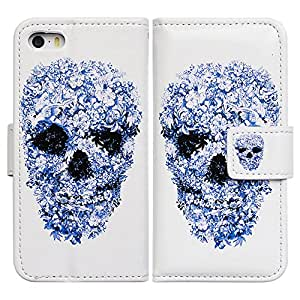 Bfun Packing Bcov Blue Flower Skull Style Leather Wallet Cover Case For iPhone 6 Plus