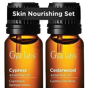 Cypress Essential Oil & Cedarwood Oil - Gya Labs Skin Nourishing Set to Moisturize & Soothe Sensitive Skin - 100% Pure Therapeutic Grade Essential Oils Set - 2x10ml