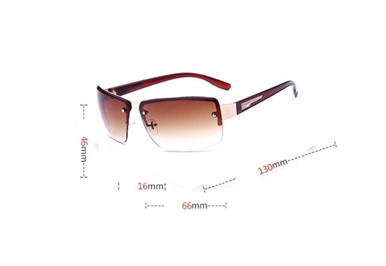 WDAKOWA Sonnenbrillen Männer Und Frauen Metall Rahmenlose Quadratische Winddichte Sonnenbrille,B-OneSize