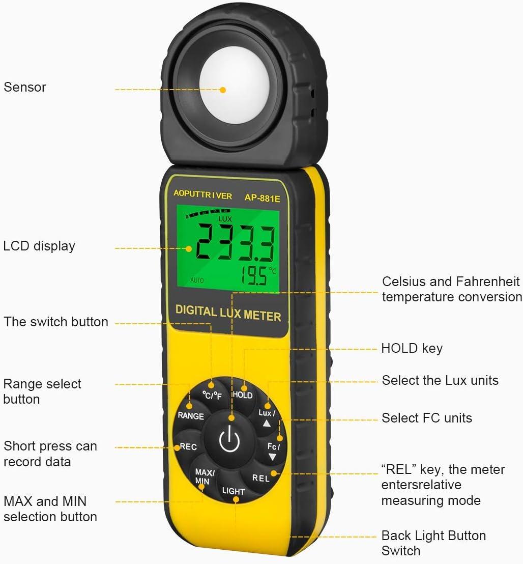 digitales Hand-Lichtmessger/ät Umgebungstemperatur CE ROHS ISO GMC-Zertifiziert Belichtungsmesser,Digitales LUX-Messger/ät Bis zu 400.000 Lux