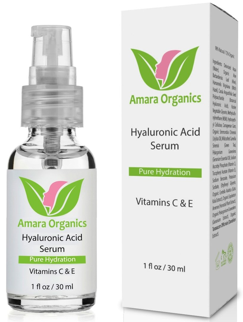 Amara Organics Hyaluronic Acid Serum for Skin with Vitamin C & E, 1 fl. oz.