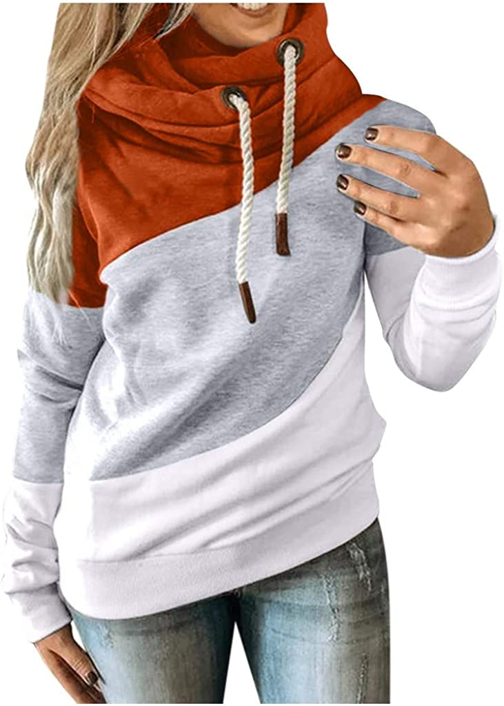 VEKDONE Women Plus Size Cowl Neck Color Block Striped Tunic Sweatshirt Drawstring Loose Hoodie Pullover Casual Tops: Clothing