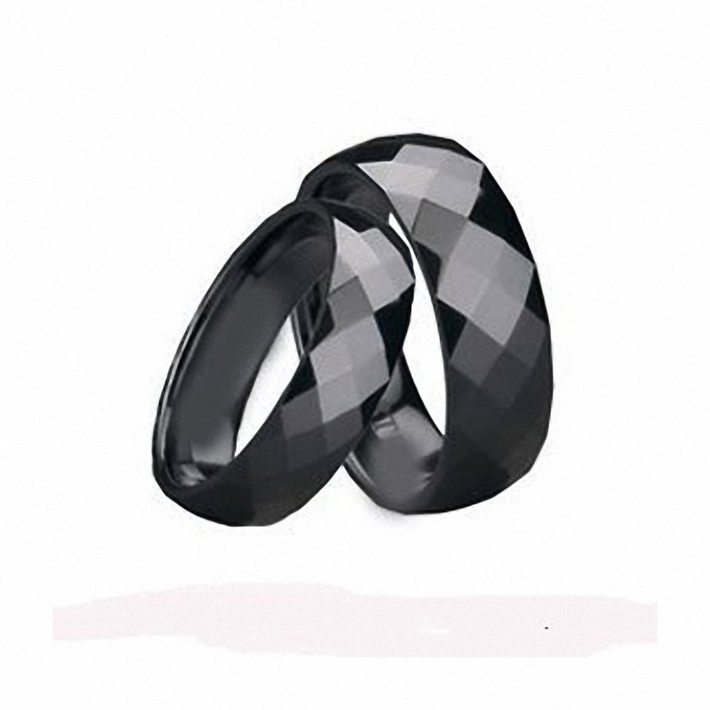 His & Her's 8MM/6MM Black Polished Facet Cut Shiny Tungsten Carbide Wedding Band Ring Set , , Ladies Size 9 - Mens Size 11.5