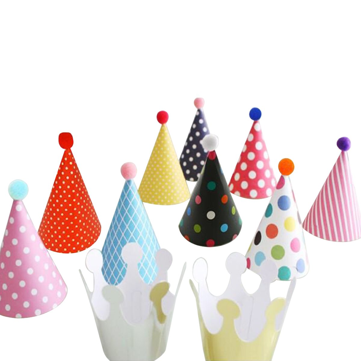 Wrapables Kids Mini-Sized Party Hats with Pom Poms and Crowns for Birthday Parties and Holidays by Wrapables