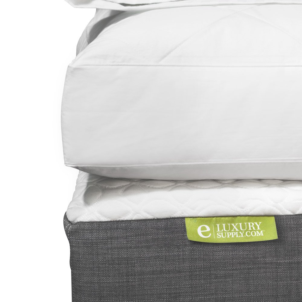 Quilted Deluxe Blended Feather and Down Bed / Mattress Topper - 233 Thread Count, King by eLuxurySupply