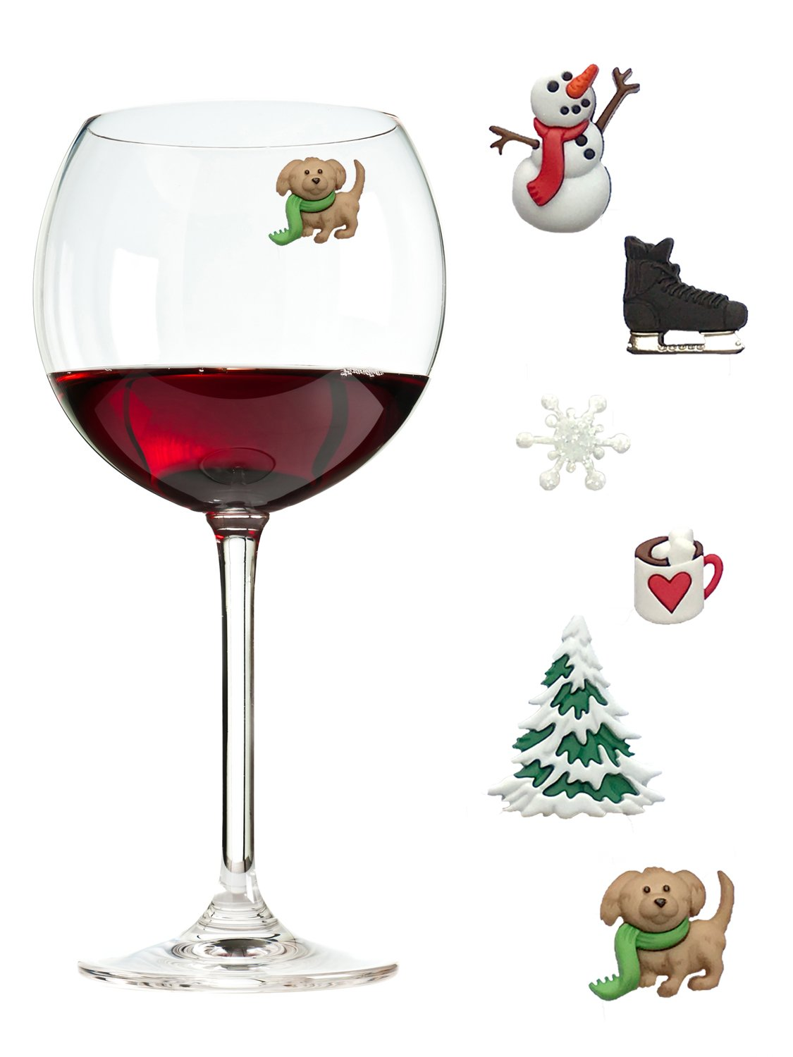Wine Charms and Magnetic Glass Markers Fun for Winter with Snowman, Snowflake Ice Skate and more - Set of 6 by Simply Charmed by Simply Charmed (Image #1)