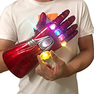 Iron Man Infinity Gauntlet Iron Man Gloves with 6 LED Detachable Magnet Infinity Stones,3 Flash Mode Avengers Endgame Costume for Adult
