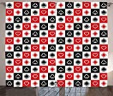 Ambesonne Casino Decorations Collection, Card Suits Advertising Leisure Luck Gaming Entertainment Repeat Illustration Image, Living Room Bedroom Curtain 2 Panels Set, 108 X 90 Inches, Red Black