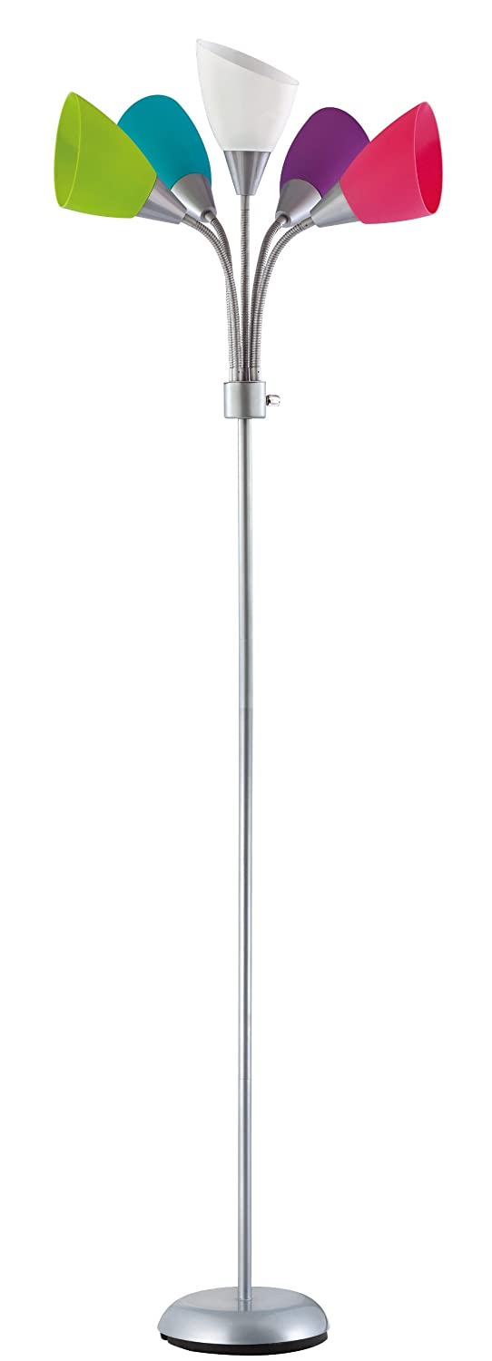 Design trends 19002 343 contemporary adjustable floor lamp with design trends 19002 343 contemporary adjustable floor lamp with five multi colored shades silver 1 pack amazon mozeypictures Choice Image