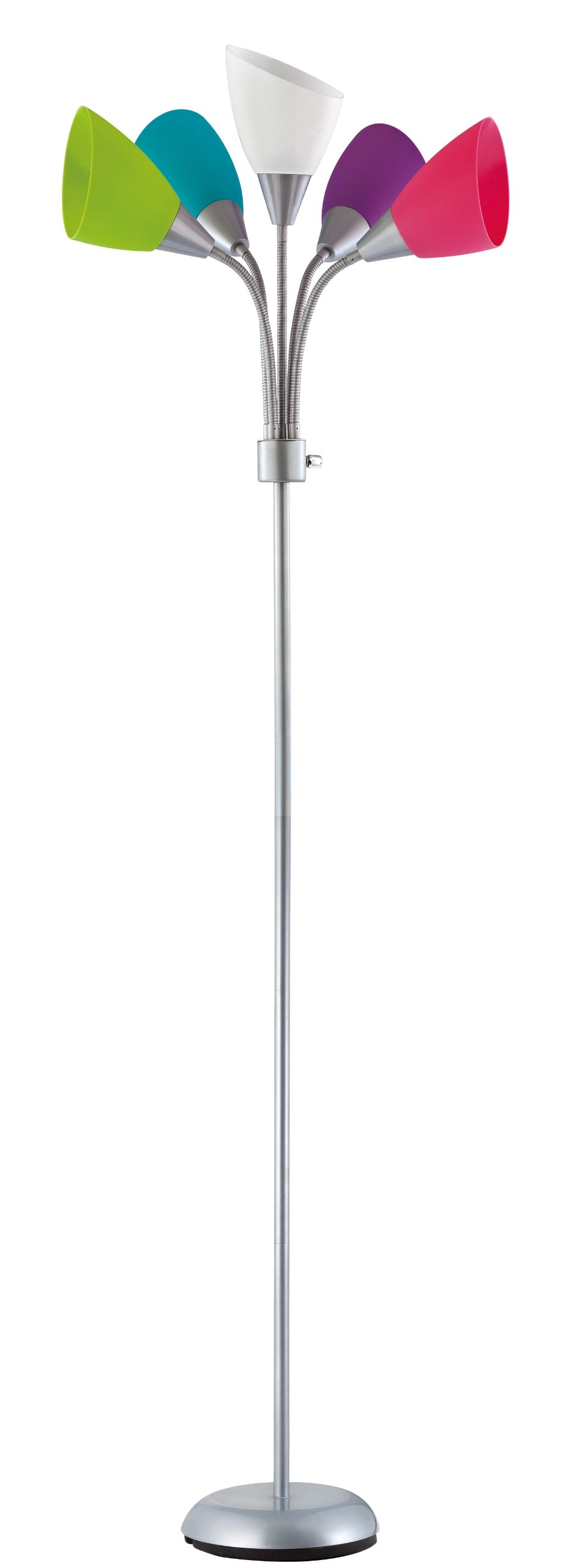 Design Trends 19002-343 Contemporary Adjustable Floor Lamp with Five Multi-Colored Shades, Silver, 1-Pack