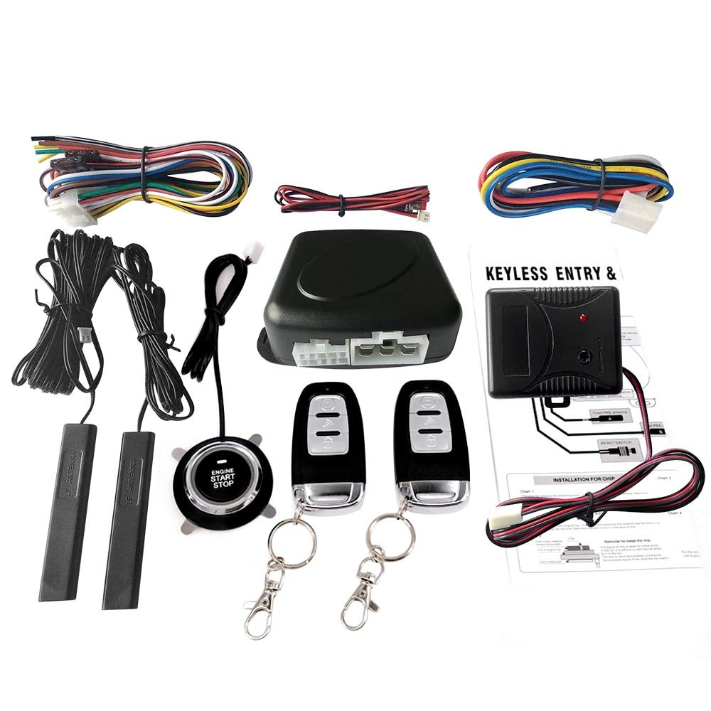 Jonathan-Shop - Car Switch Keyless Entry Engine Start Alarm System with Vibration Sensor Push Button Remote Starter Stop Auto Anti-theft System