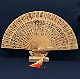 Brown 50Pcs/Lot With Gift Bag Aromatic Wood Folding Carved Hand Fan Craft Supplies Kraft Abanicos Para Boda Mariage