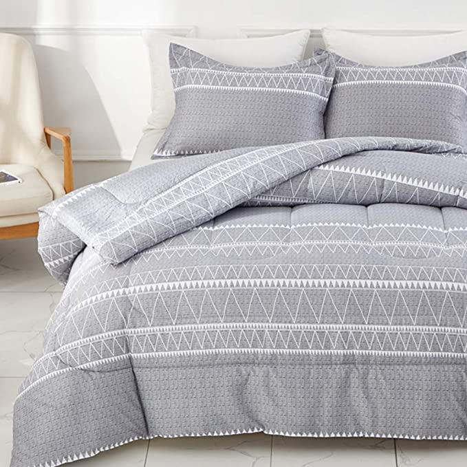 Gray /& Green lines COMFORTER REVERSIBLE set QUEEN SIZE Perfect gift /& Decoration