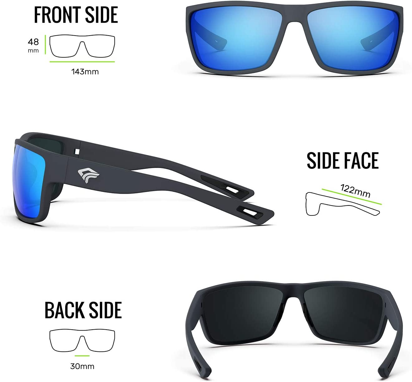 TOREGE Polarized Sports Sunglasses for Men and Women Cycling Running Golf Fishing Sunglasses TR26 (Matte Grey Frame & Ice Blue Lens): Clothing