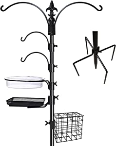 "Gray Bunny Deluxe Premium Bird Feeding Station, 22"" Wide x 91"" Tall (82 inch Above Ground) Black, Multi Feeder Hanging Kit & Bird Bath for Attracting Wild Birds, Birdfeeder & Planter Hanger"