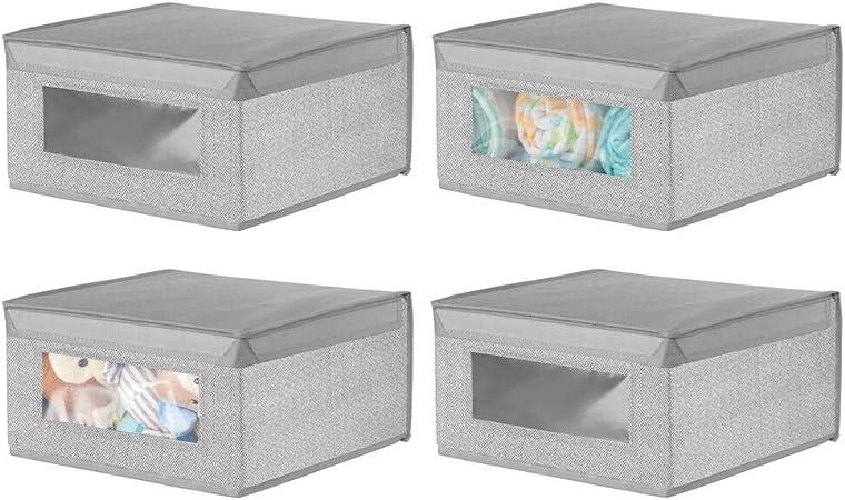 mDesign Juego de 4 Cajas organizadoras de Tela – Caja de almacenaje apilable para ordenar armarios, Ropa o Accesorios de bebé – Organizador de armarios con Tapa y ventanilla – Gris: Amazon.es: Hogar