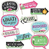 Funny Let's Go Glamping - Camp Glamp Party or Birthday Party Photo Booth Props Kit - 10 Piece