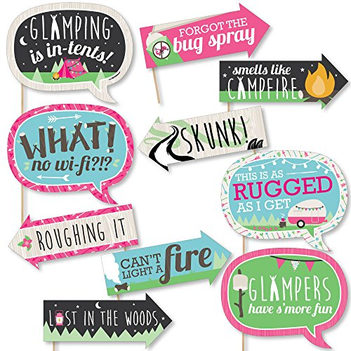 Funny Let's Go Glamping - Camp Glamp Party or Birthday Party Photo Booth Props Kit - 10 Piece]()