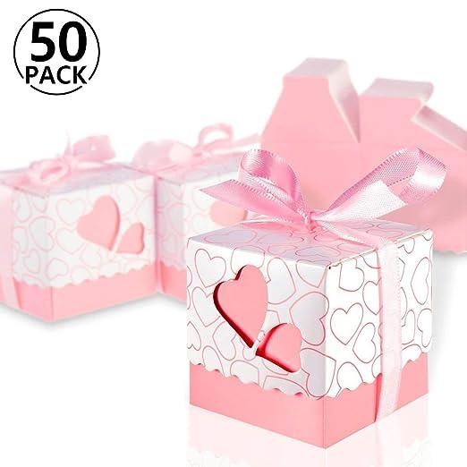 Foonii 50 Cajitas/Caja para Bombones Caramelos Regalo Mariposa Color Rosa Decoracion para Boda Party (Rosa): Amazon.es: Oficina y papelería