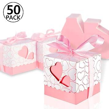 Foonii 50 Cajitas/Caja para Bombones Caramelos Regalo Mariposa Color Rosa Decoracion para Boda Party