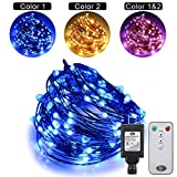 Ruichen Dual Color LED String Lights Color Changing Plug in, 66Ft 200LEDs 10 Modes Copper Wire Decorative Fairy Lights+Remote&Timer for Bedroom,Patio,Garden,Wedding (66Ft, Warm White & Blue)