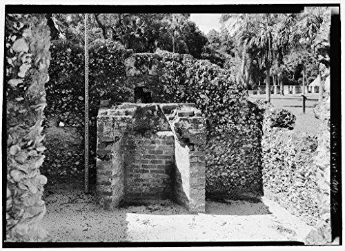 Vintography 8 x 12 Photo Slave Quarters E13, Detail View Fireplace Scale Stick - Kingsley Plantation, 11676 Palmetto Avenue, Jacksonville, Duval County, FL 1879 78a by Vintography