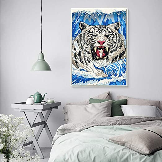 YCOLLC Lienzo de Pintura Tiger Tiger In Sea Wave Ukiyo-e ...