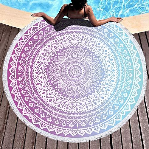 Bonsai Tree Mandala Beach Towel, Indian Hippie Boho Large Round Beach Towel with Tassels, Purple Bohemian Beach Blanket Sand Proof Oversized Yoga Mat Towel 59 Inches