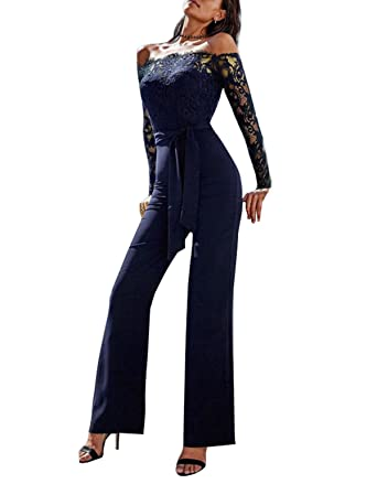 dr sosmonki damen elegant spitze stitching jumpsuit cocktailkleid schulterfrei schlank hochzeit bandeaukleider wide leg pants amazon de bekleidung