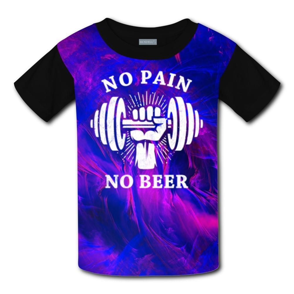 HNkiha Youth No Pain No Beer Casual T-Shirt Short Sleeve for Kids