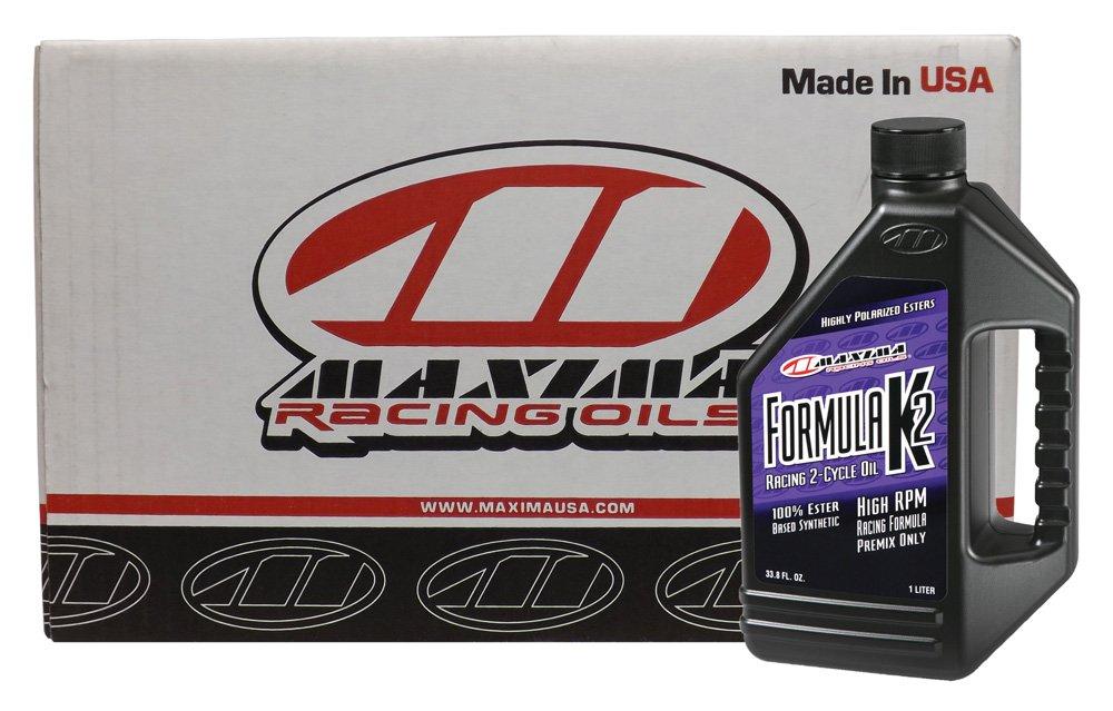 Maxima CS22901-12PK Formula K2 2-Stroke Synthetic Racing Premix Engine Oil - 1 Liter Bottle, (Case of 12)