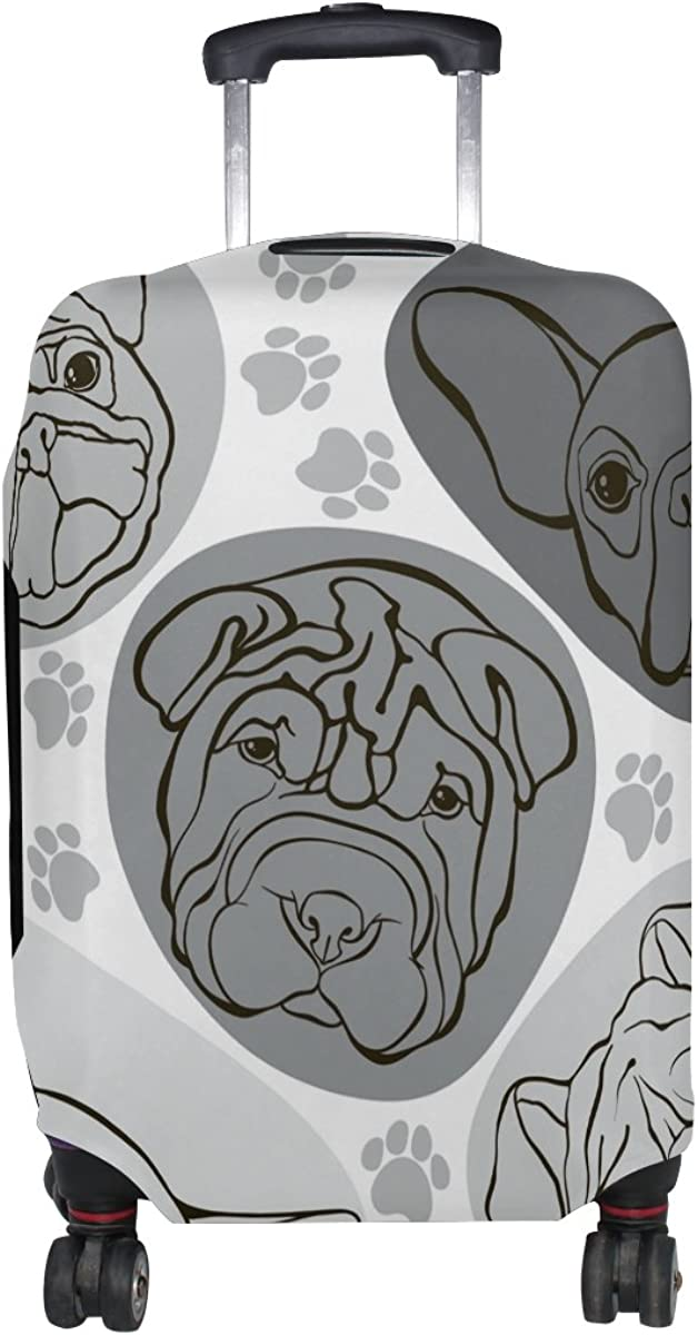 GIOVANIOR Dogs Pug Bulldog Paws Luggage Cover Suitcase Protector Carry On Covers