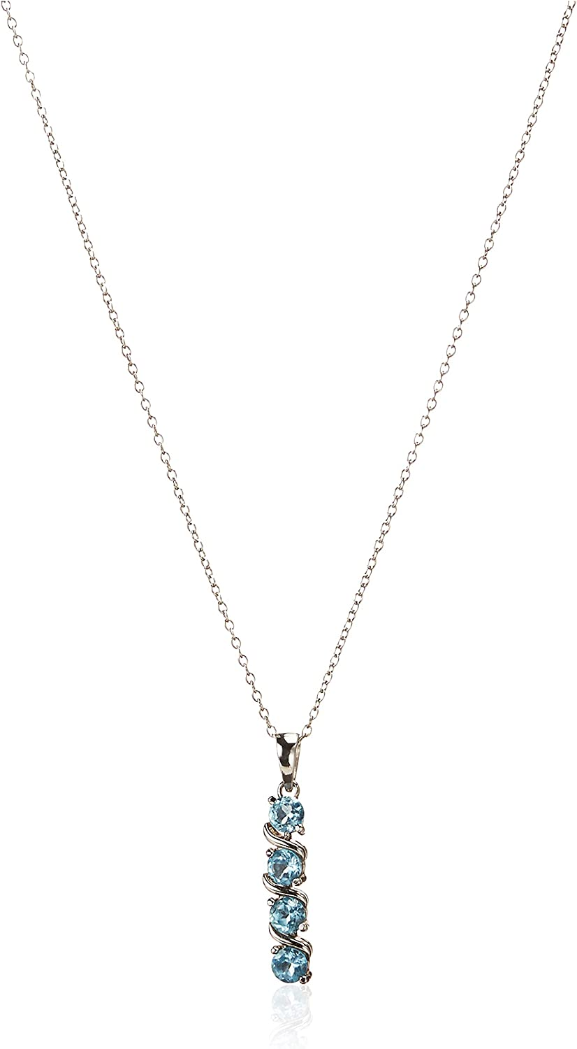 """Amazon Collection Sterling Silver 4-Stone Genuine or Created Gemstone Pendant Necklace (4mm), 18"""""""