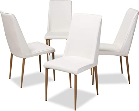 Amazon Com Baxton Studio Chandelle Modern And Contemporary White Faux Leather Upholstered Dining Chair Chairs
