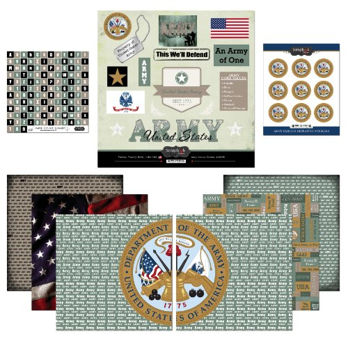 Military Scrapbook Kit (Scrapbook Customs Themed Paper and Stickers Scrapbook Kit, Army)