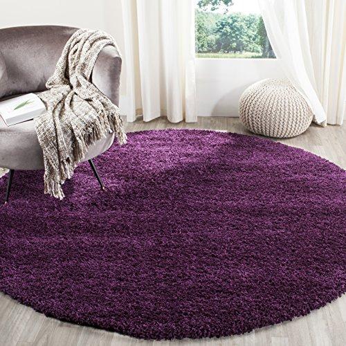 Safavieh California Premium Shag Collection SG151-7373 Purple Round Area Rug (4' Diameter)
