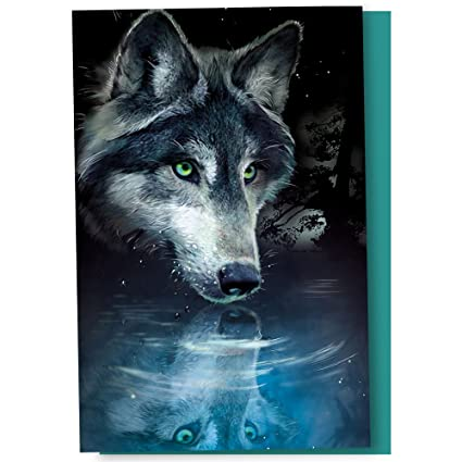amazon com tree free greetings econotes 12 count wolf reflection