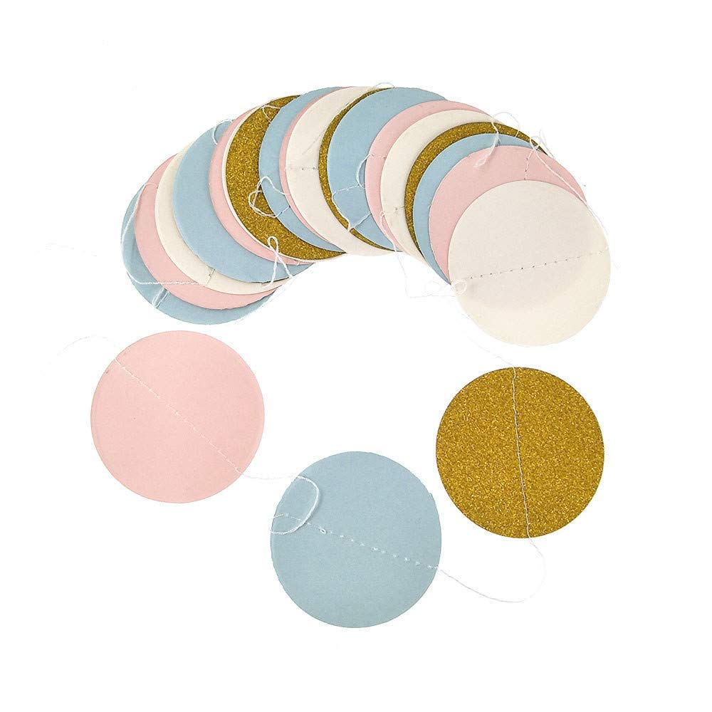 AMOFINY Home Decor Glitter Circle Polka Dots Garland Banner Bunting Party Decoration Pink White and Gold