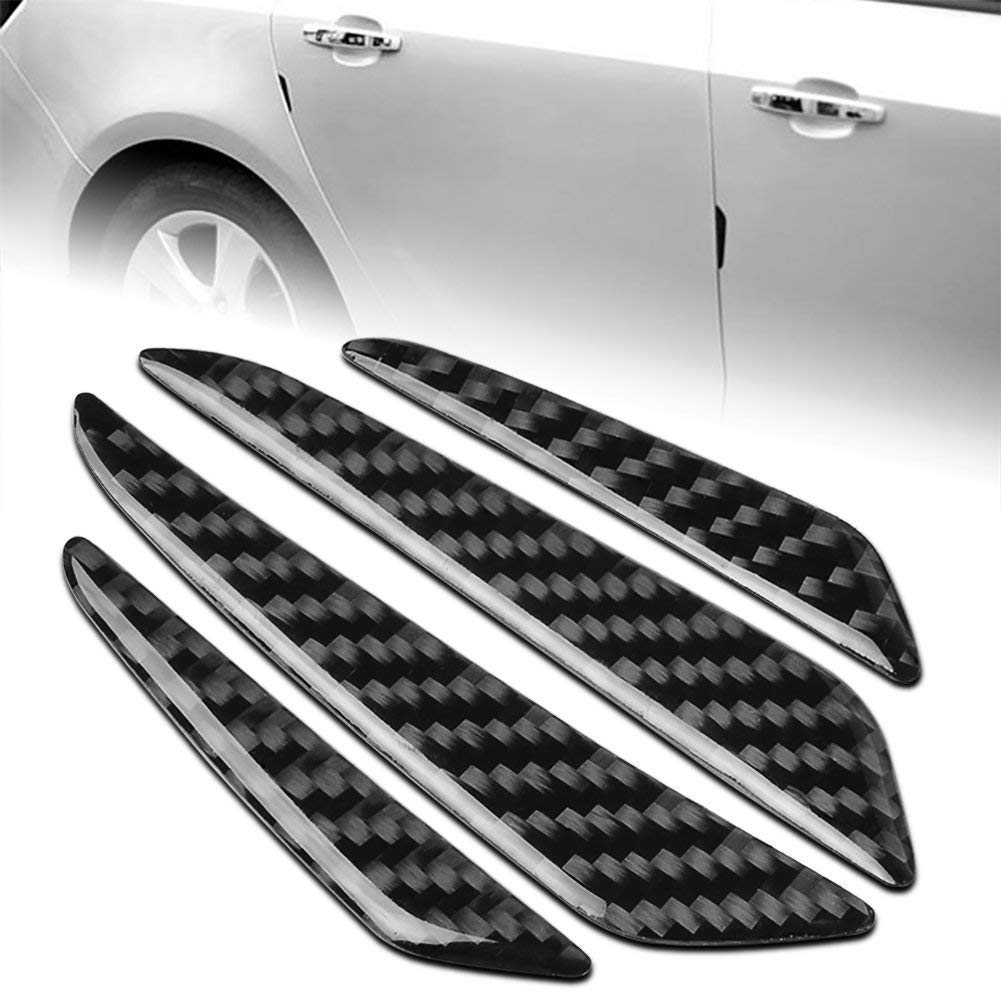 NEW 4Pcs Black Carbon Fiber Car Side Door Edge Protection Guards Trims Stickers