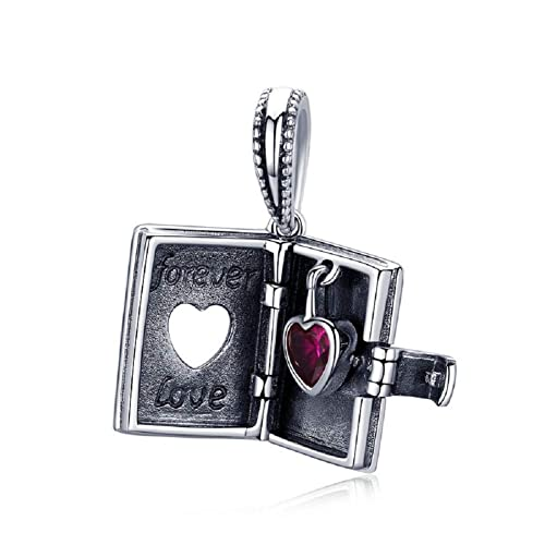 d97c29a2a Forever Love 925 Sterling Silver Pendant Charms fits Bracelets Necklaces  Heart Red CZ Mom Wife Anniversary Mother's Day Birthday Jewellery: Amazon.co .uk: ...