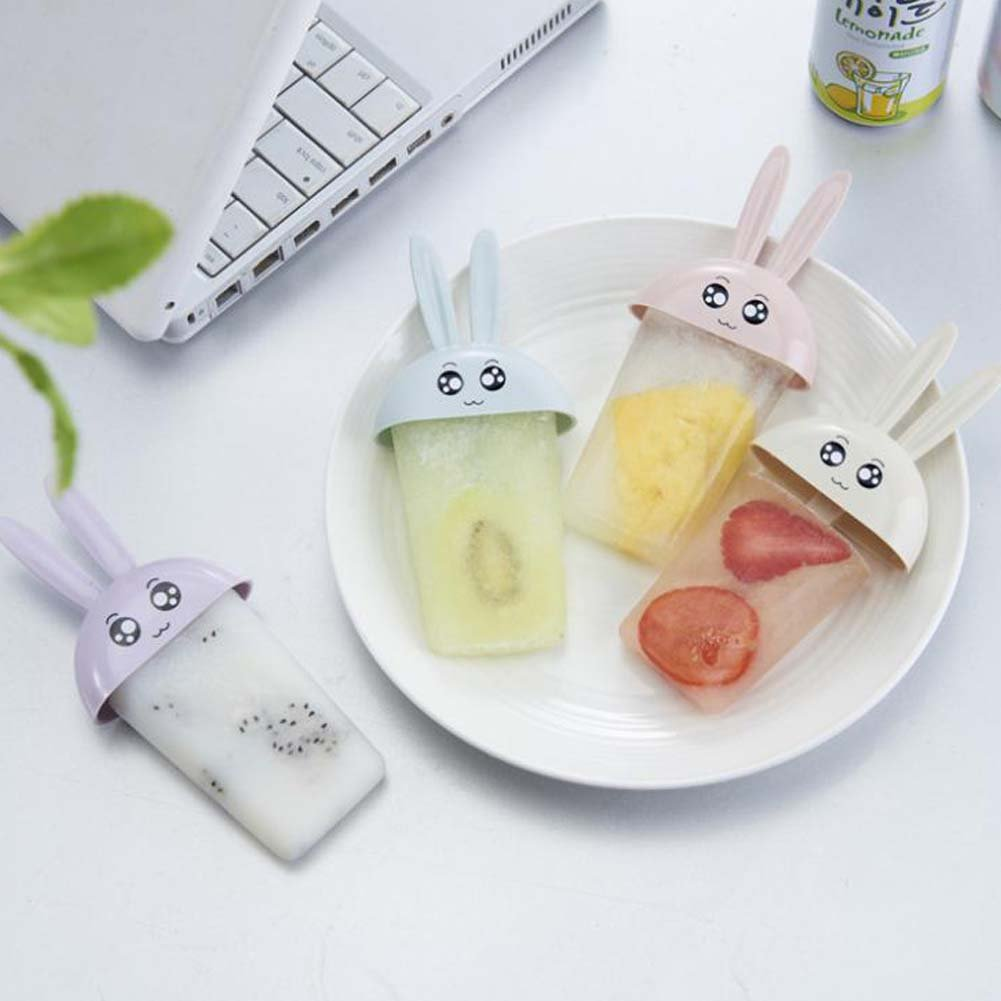 ANQI 2 Packs Animal Popsicle Mold Rabbit Ice Cream Mold Ice Cream Maker 4pcs Popsicle Box with Lid for Children by ANQI (Image #2)